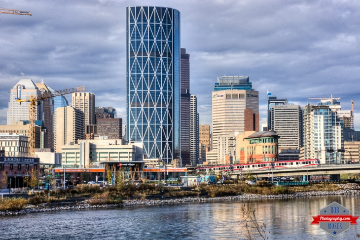 YYC Skyline Eastvillage east village river waterfront buildings tower skyscrapers city subway train - Rob Moses Photography -Calgary Photographer Photographers Native American Famous Tlingit Ojibawa Top Popular Best Good Canadian Awesome Lifestyle