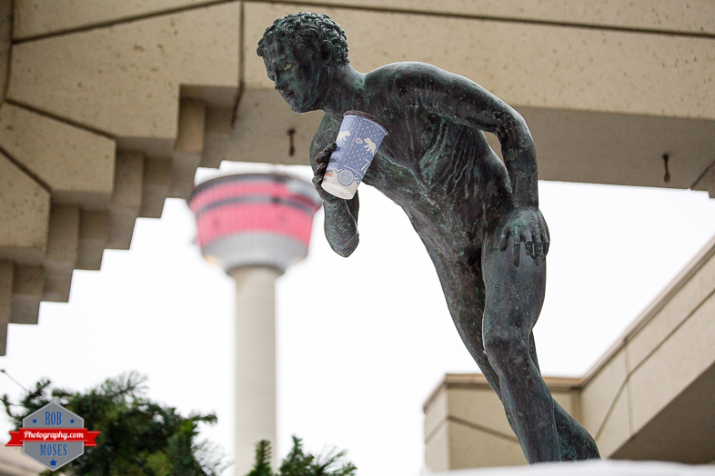 2 Funny Tim Hortons Coffee Statue Tower yyc - Rob Moses Photography - Native American Ojibaway Tlingit World Famous Un Celebrity - Seattle Top Vancouver Calgary Photographer Popular Photographers