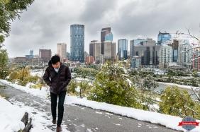 Blog Street winter cold yyc city skyline urban walking man guy - Rob Moses Photography - Native American Alaskan Famous Tlingit - Seattle Top Vancouver Photographer Popular Photographers