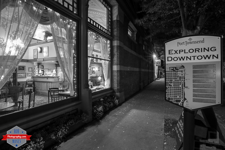 Exploring Downtown Port Townsend Washington WA town sign map black white street Palace Hotel - Rob Moses Photography -Calgary Photographers Native American Famous un celebrity Tlingit Ojibawa Top Popular Best Good