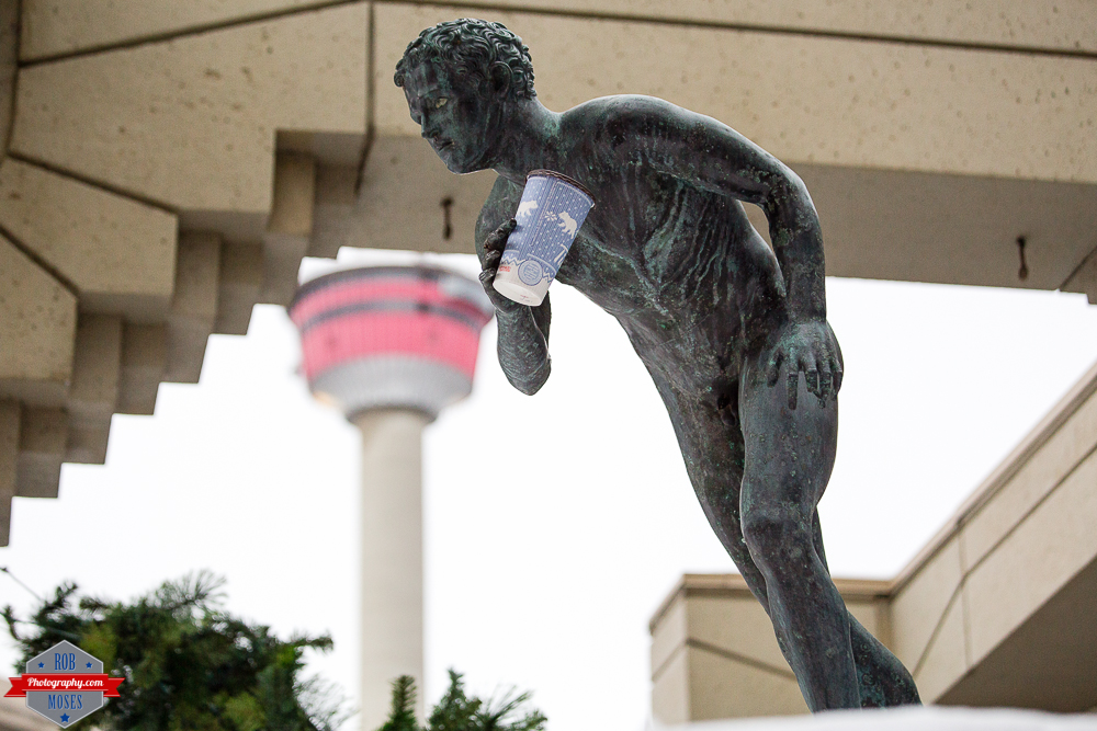 Funny Tim Hortons Coffee Statue Tower yyc - Rob Moses Photography - Native American Ojibaway Tlingit World Famous Un Celebrity - Seattle Top Vancouver Calgary Photographer Popular Photographers