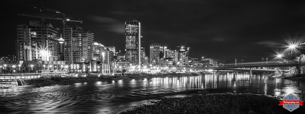 T YYC city skyline B&W Bow river uban - Rob Moses Photography Calgary Photographer Photographers Native American Famous un celebrity Tlingit Ojibawa Top Popular Best Good Canadian