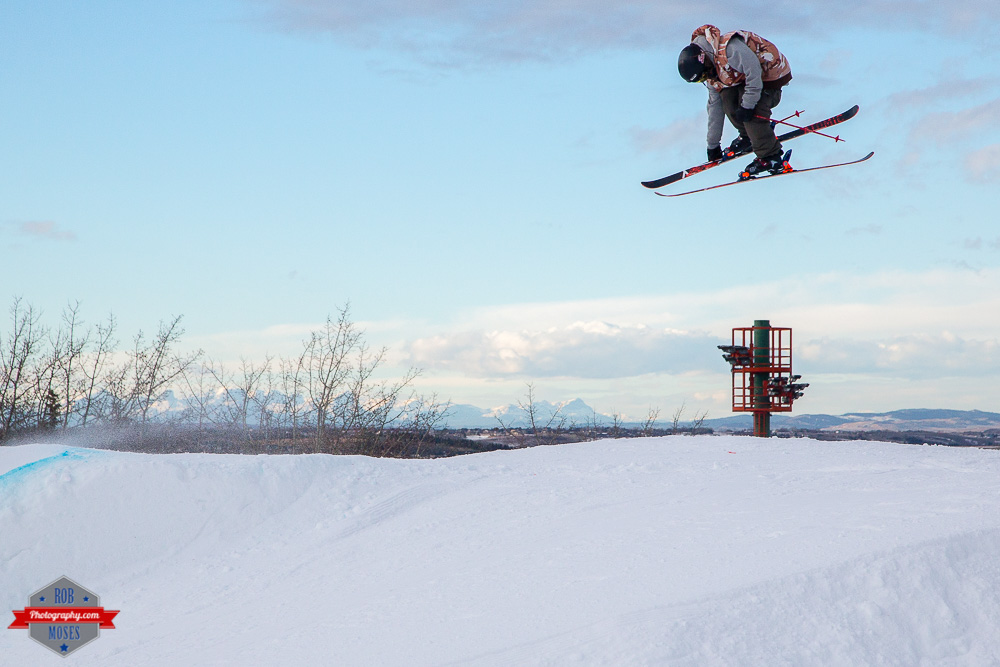Freestyle extreme ski skiing skier jump aerial COP Alberta YYC Winsport Rob Moses Photography Calgary Photographer Photographers Native American Famous un celebrity Tlingit Ojibawa Top Popular Best Good Canadian