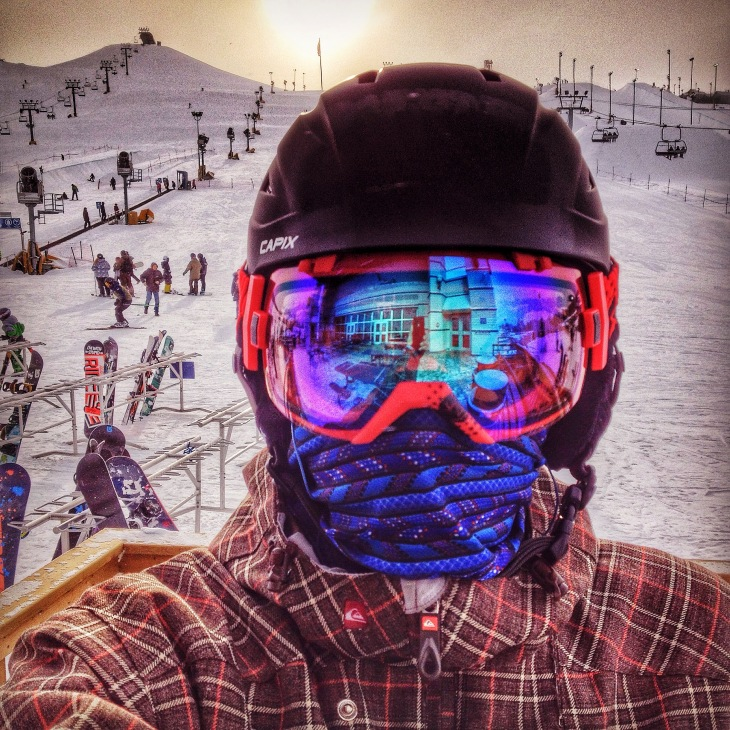Rob Moses Snowboarder Winsport Calgary Alberta Canada Ski Hill Smith i:ox goggles quicksilver winter reflection selfie photographer photography wicked