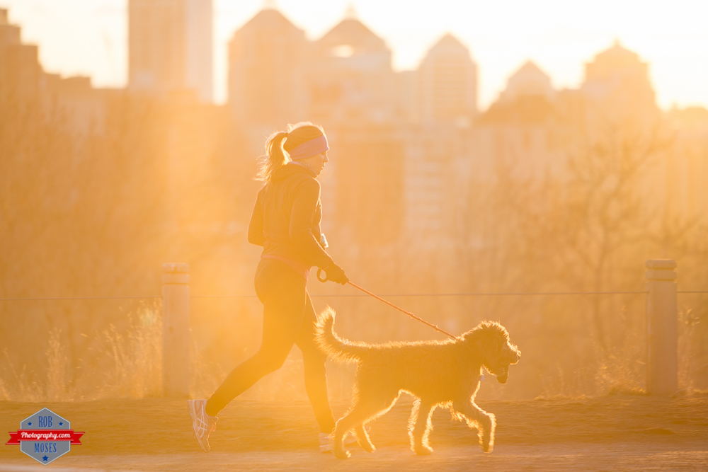 Woman girl run running jogging dog pet yyc skyline sunset beautiful Rob Moses Photography Calgary Photographer Photographers Native American Famous un celebrity Tlingit Ojibawa Top Popular Best Good Canadian