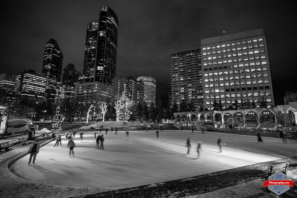 YYC Olympic Plaza city ice skating rink skyline urban night buildings - Rob Moses Photography Calgary Photographer Photographers Native American Famous un celebrity Tlingit Ojibawa Top Popular Best Good Canadian