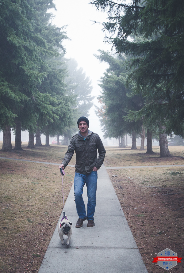 Man Walking Dog Cute Pug Doggie Path Yyc Fog Foggy Guy Trees Nice