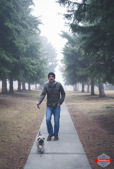 Man walking dog cute pug doggie path yyc fog foggy guy trees nice - Rob Moses Photography Calgary Photographer Photographers Native American Famous un celebrity Tlingit Ojibawa Top Popular Best Good Canadian