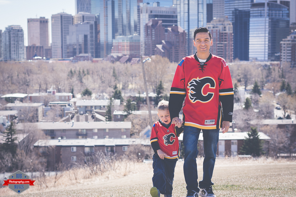 Father son Joshua Cameron family yyc Flames jersey skyline city urban Rob Moses Photography Calgary Photographer Photographers Native American Famous un celebrity Tlingit Ojibawa Top Popular Best Good Canadian