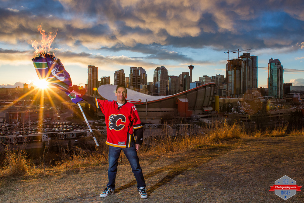 Flames Canucks NHL Playoffs 2015 yyc skyline sunset sky fire fan burning Rob Moses Photography Calgary Photographer self portrait Native American Famous un celebrity Tlingit Ojibawa Top Popular Best Good Canadian Canon Alberta Vancouver BC selfie