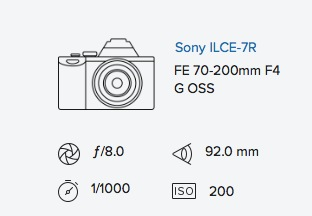 Sony A7R 70-200mm exif data Rob Moses Photography