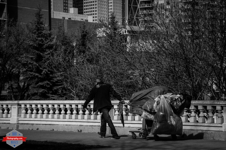 YYC Beaulieu Gardens homeless shopping cart bags working walking sunny sun spring Rob Moses Photography Calgary Photographer Photographers Native American Famous un celebrity Tlingit Ojibawa Top Popular Best Good Canadian street