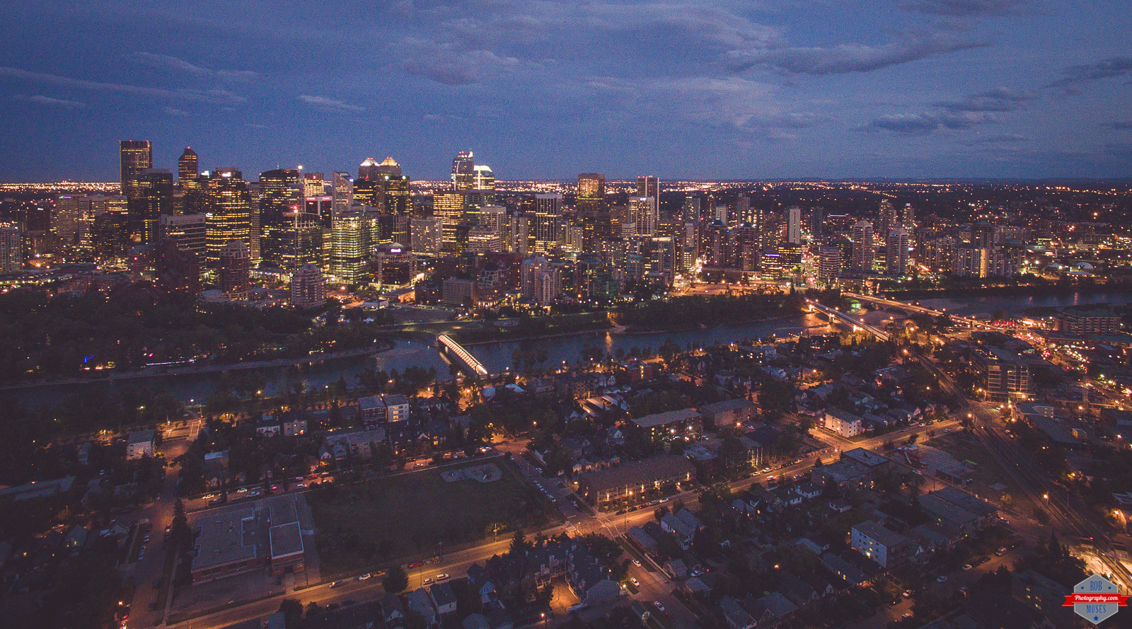 Calgary Skyline Night Phantom 3 Drone UAV Big City Rob Moses Photography Photographer Photographers Native
