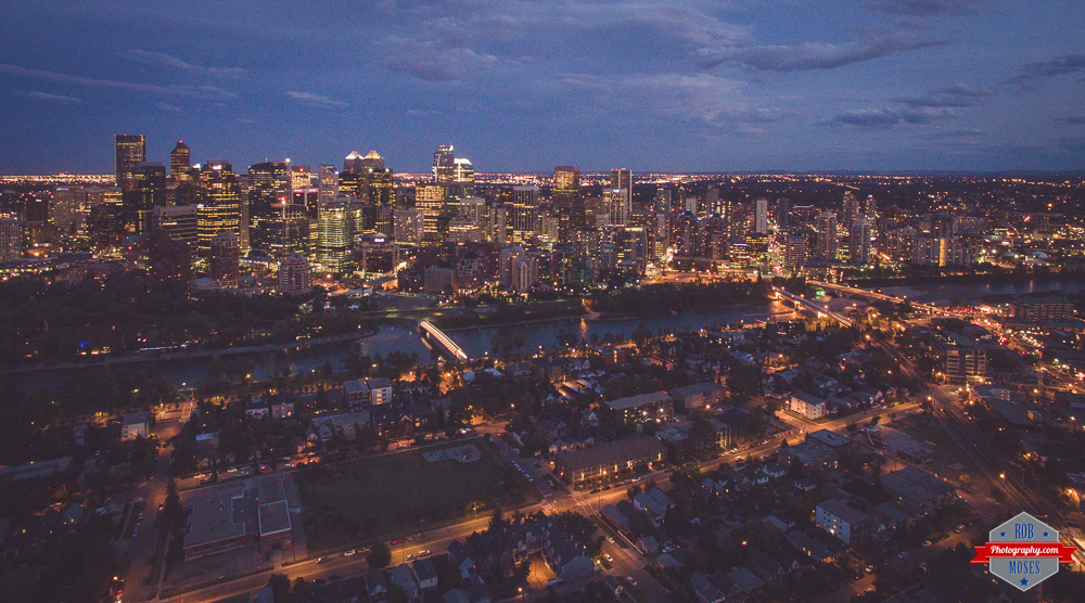 Calgary Skyline Night Phantom 3 drone UAV big city Rob Moses Photography Calgary Photographer Photographers Native American Famous un celebrity Tlingit Ojibawa Top Popular Best Good Canadian Twitter