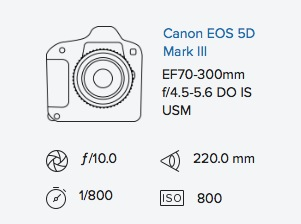 Canon 5D mark iii 70-300mm DO IS exif data