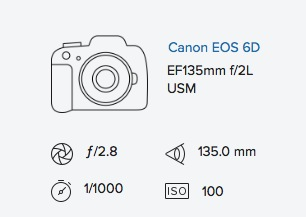 Canon 6D 135L exif data rob moses