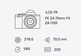 Sony A7R 70-200mm Mirorless exif data rob moses