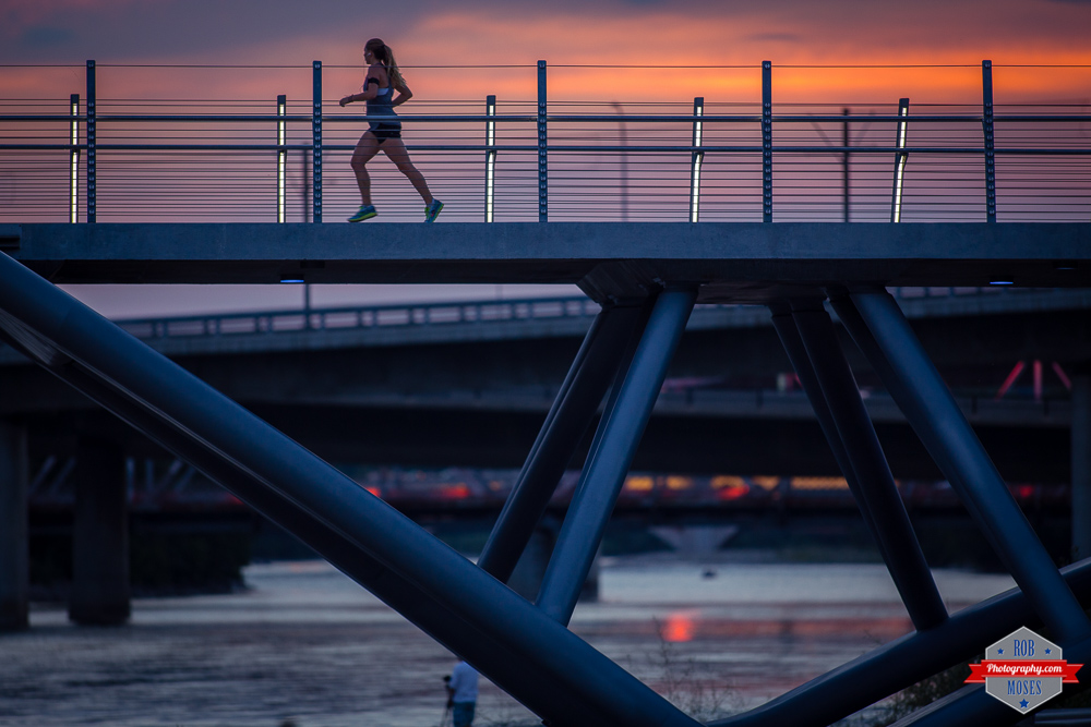 Beautiful sunset woman girl running jogging yyc bridge 300mm Rob Moses Photography Calgary Photographer Photographers Native American Famous un celebrity Tlingit Ojibawa Top Popular Best Good Canadian