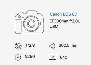 Canon 6D 300mm 2.8 exif data rob moses