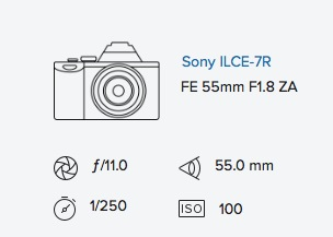 Sony A7R exif data 55mm rob moses