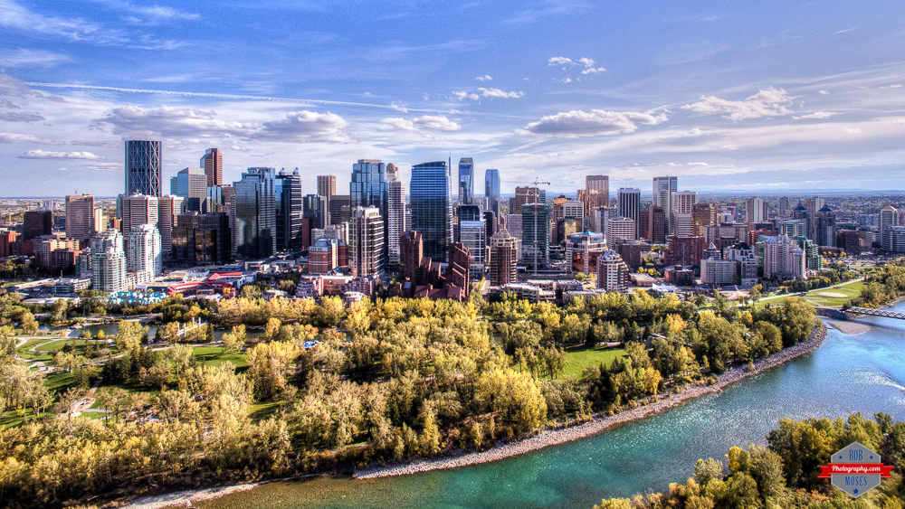 Calgary Drone skyline river sky Rob Moses Photography Calgary Photographer Photographers Native American Famous un celebrity Tlingit Ojibawa Top Popular Best Good Canadian Princes Island park city bow river trees