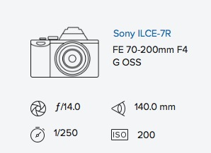 Sony a7R 70-200mm exif data rob moses