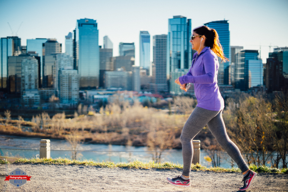 Woman girl running jogging jog run city skyline urban Canon FD Rob Moses Photography Calgary Vancouver Seattle Spokane WA BC Native American Tlingit Ojibaway famous un celebrity Canadian best beautiful