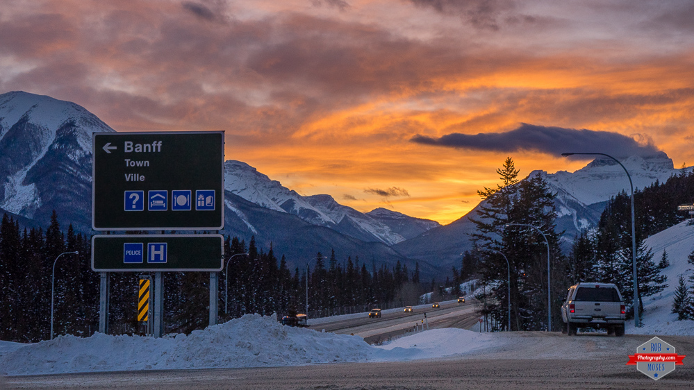 Banff Alberta sign highway landscape rocky mountians sunset Rob Moses Photography Calgary Vancouver Seattle Spokane Photographer WA BC Native American Tlingit Ojibaway famous un celebrity Canadian best beautiful