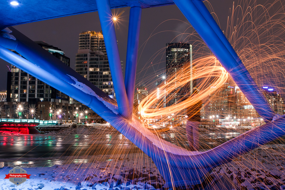 Steel wool skipping stone east village yyc fire Rob Moses Photography Calgary Vancouver Seattle Spokane Photographer WA BC Native American Tlingit Ojibaway famous un celebrity Canadian best under