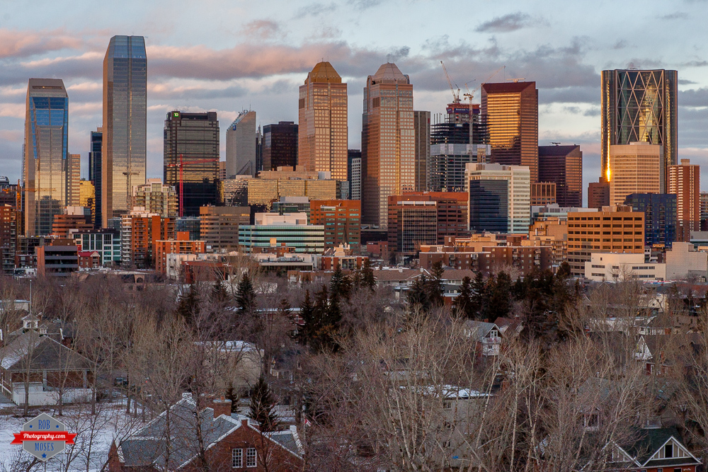 Winter skyline buildings sunset yyc Rob Moses Photography Calgary Vancouver Seattle Spokane Photographer WA BC Native American Tlingit Ojibaway famous un celebrity Canadian best