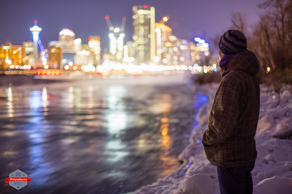 Photographer selfie portrait yyc bow river night city bokeh winter Rob Moses Photography Calgary Vancouver Seattle Spokane Photographer WA BC Native American Tlingit Ojibaway famous un celebrity Canadian best