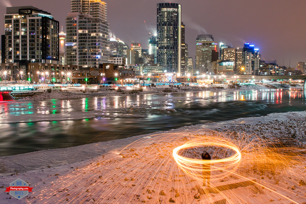 Steel wool city skyline urban river east village yyc fire Rob Moses Photography Calgary Vancouver Seattle Spokane Photographer WA BC Native American Tlingit Ojibaway famous un celebrity Canadian best