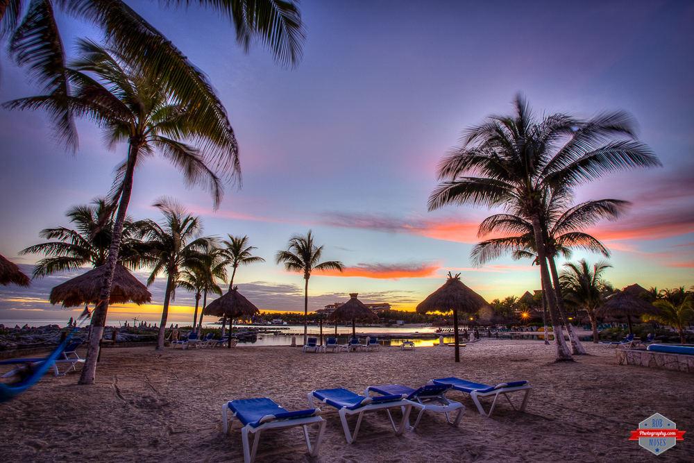 Beautiful amazing sunset playa del carmen Puerto Aventuras beach landscape palm trees Rob Moses Photography Calgary Photographer Photographers Native American Famous un celebrity Tlingit Ojibawa Top Popular Best Good Canadian pretty Caribbean Sea