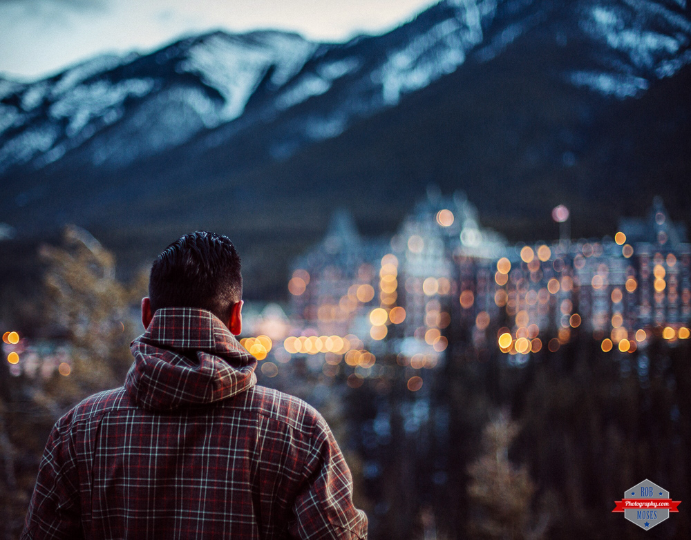 Selfie self portrait banff alberta mountains hotel bokeh night lights man view Rob Moses Photography Calgary Photographer Photographers Native American Famous un celebrity Tlingit Ojibawa Top Popular Best Good Canadian 50mm
