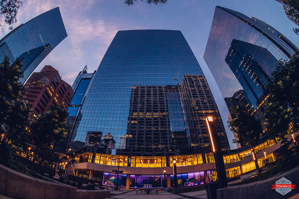 YYC modern glass buildings reflection sky fisheye ATB Rob Moses Photography Portland Calgary Vancouver Seattle Spokane Photographer WA BC Native American Tlingit Ojibaway famous un celebrity Canadian best pdx