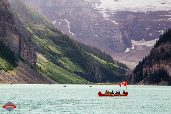 Lake Louise Glacier rocky mountains canoe boat Canada flag Rob Moses Photography Portland Calgary Vancouver Seattle Spokane Photographer WA BC Native American Tlingit Ojibaway famous un celebrity Canadian best pdx spokane