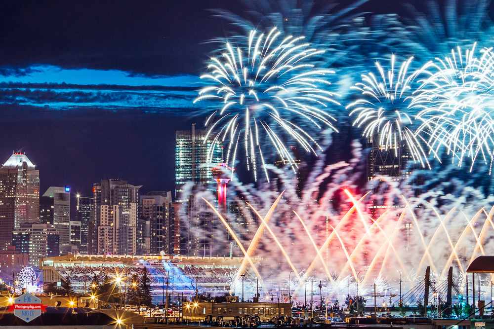 YYC skyline fireworks stampede Rob Moses Photography Portland Calgary Vancouver Seattle Spokane Photographer WA BC Native American Tlingit Ojibaway famous un celebrity Canadian best pdx Spokane