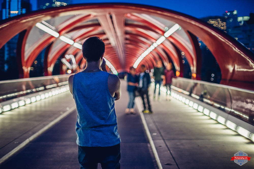 YYC street style bokeh peace bridge urban Rob Moses Photography Portland Calgary Vancouver Seattle Spokane Photographer WA BC Native American Tlingit Ojibaway famous un celebrity Canadian best pdx
