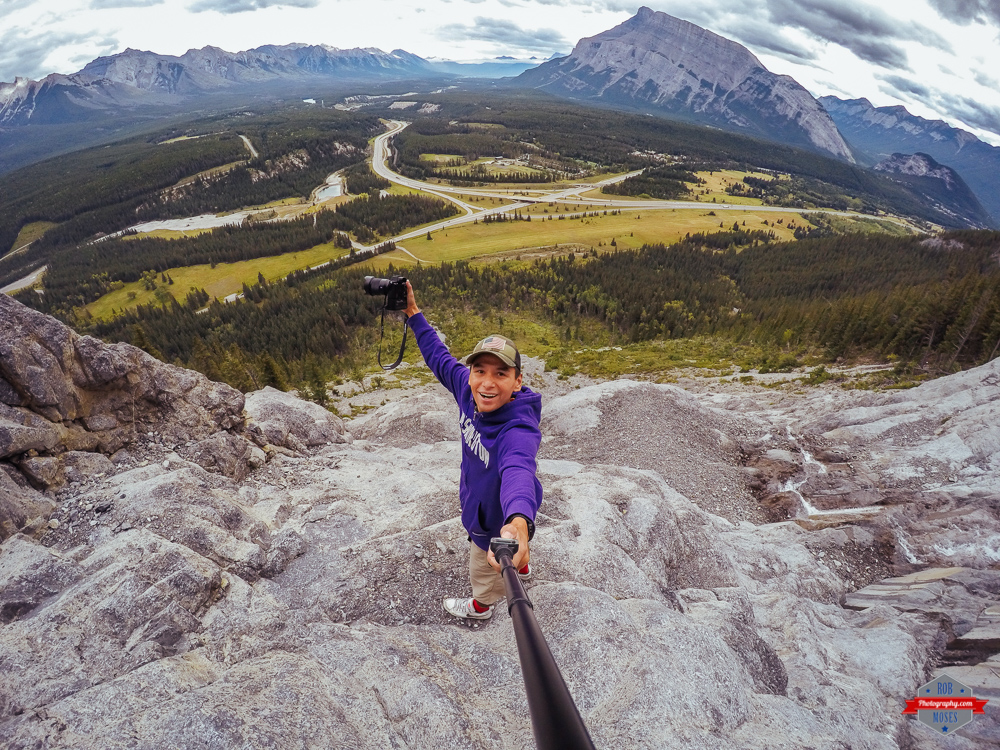 GoPro Selfie rocky mountains banff native american