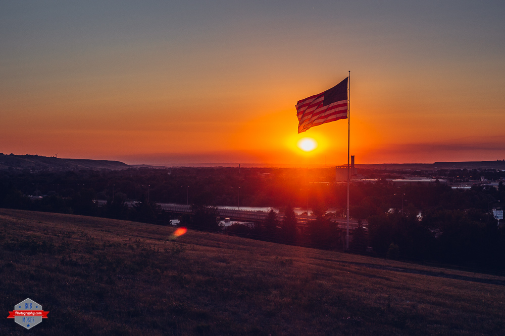 Great Falls Montana American Flag USA MT Sunset Rob Moses Photography Portland Calgary Vancouver Seattle Spokane Photographer WA BC Native American Tlingit Ojibaway famous un celebrity Canadian best pdx