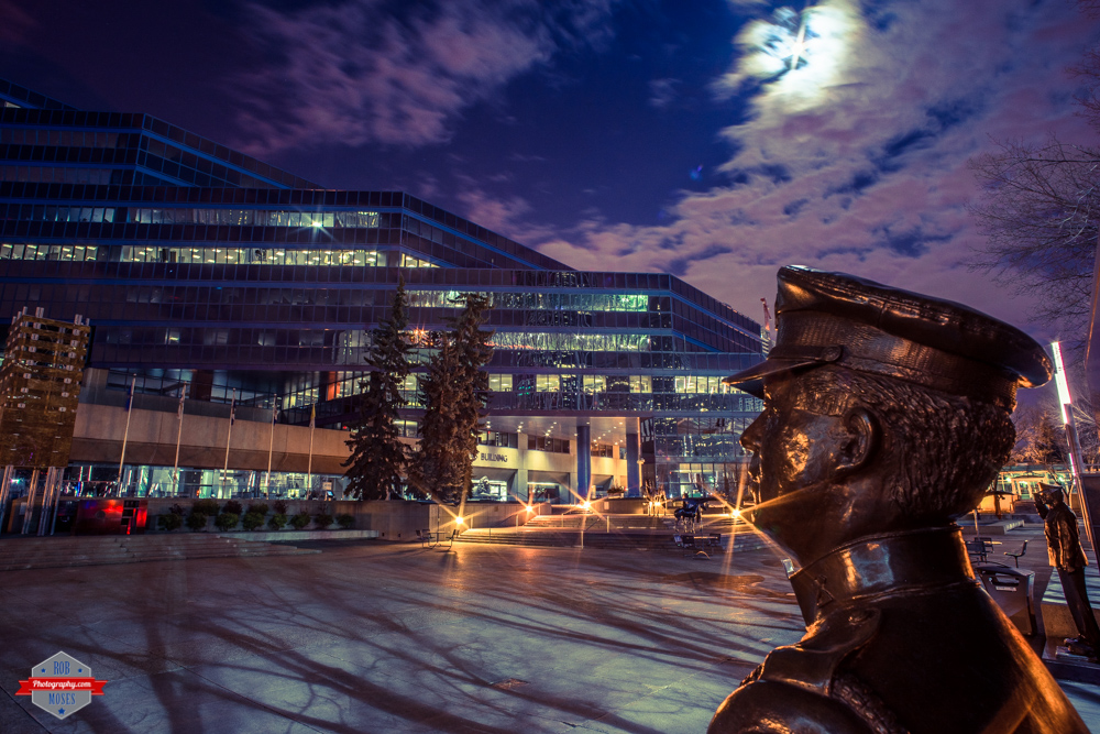 yyc-city-hall-statue-nigh-moon-city-sky-rob-moses-photography-portland-calgary-vancouver-seattle-spokane-photographer-wa-bc-native-american-tlingit-ojibaway-famous-un-celebrity-canadian-best-pdx-2
